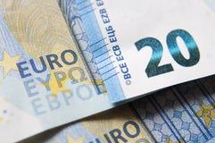 Nahaufnahme des Banknotendetails des Euros 20 Stockbilder