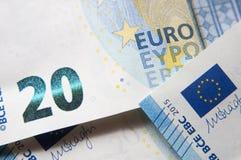 Nahaufnahme des Banknotendetails des Euros 20 Stockfotografie