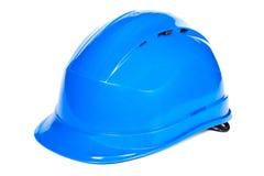 Nahaufnahme des blauen Schutzhelms auf weißem Hintergrund Stockbild