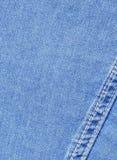 Nahaufnahme des Blue Jeanstuches Lizenzfreie Stockfotos