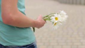 Nahaufnahme des Blumenstraußes der Gänseblümchen in den Händen des Mannes stock video