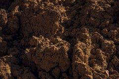 Nahaufnahme des braunen Bodens in einem Baubereich bei Sonnenuntergang in Tielt Stockfotos