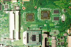 Nahaufnahme des Brettes der elektronischen Schaltung Stockbilder