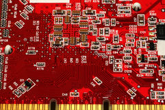 Nahaufnahme des Brettes der elektronischen Schaltung Stockfoto