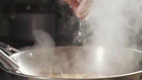 Nahaufnahme des Chefs gießt Gewürze in gebratenem Lebensmittel in der Wokwanne, Zeitlupe stock video footage