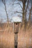 Nahaufnahme des einfachen hölzernen Vogelhauses mit Schnee wischte Dach auf dem Gebiet ab lizenzfreie stockfotos