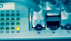 Nahaufnahme des Ethernet-Bolzens und -seilzuges Stockbild