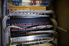 Nahaufnahme des Gestell angebrachten Servers Lizenzfreies Stockfoto