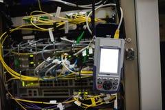 Nahaufnahme des Gestell angebrachten Servers Stockfoto