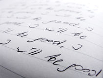 Nahaufnahme des handgeschriebenen Textes Lizenzfreies Stockfoto
