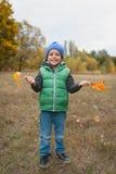 Nahaufnahme des jungen Jungen spielend mit herbstlichen Blättern Stockbilder