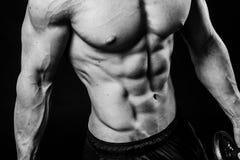 Nahaufnahme des kühlen perfekten sexy starken sinnlichen bloßen Torsos mit ABSbrüsten 6 verpacken Muskelkasten-Schwarzweiss-Studi Stockbilder