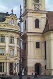 Nahaufnahme des Kirchturms in Sibiu lizenzfreies stockbild