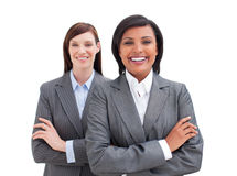 Nahaufnahme des Lächelns mit zwei Geschäftsfrauen Lizenzfreie Stockfotografie