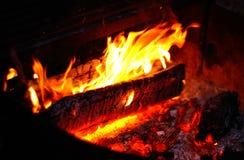 Nahaufnahme des Lager-Feuers Stockfoto