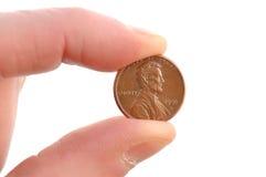 Nahaufnahme des Lincoln-Pennys Stockfotos