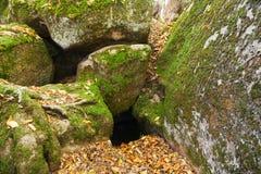Nahaufnahme des Lochs zwischen Felsen mit grünem Moos Stockfoto