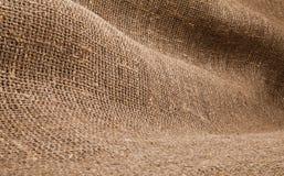 Nahaufnahme des natürlichen Leinwandsackzeugrausschmisses lizenzfreies stockbild