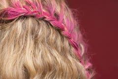 Nahaufnahme des purpurroten Haares Stockfotos