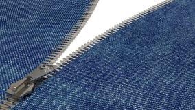Nahaufnahme des Reißverschlusses in der Blue Jeans Stockbilder