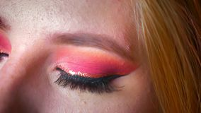 Nahaufnahme des reizend weiblichen Makes-up der blauen Augen mit rosa Schatten und dem Gold-eyeline, das gerade auf theleft und d stock footage