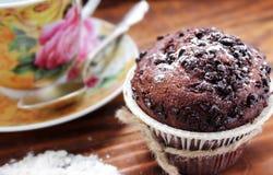 Nahaufnahme des Schokoladenkleinen kuchens Stockfotografie