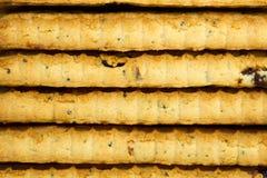 Nahaufnahme des Schokoladenplätzchenturms Stockbild