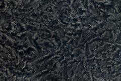 Nahaufnahme des schwarzen Schaffellpelzes Stockfoto