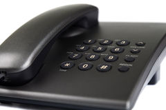 Nahaufnahme des schwarzen Tischplattentelefons Stockfoto