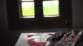 Nahaufnahme des ukrainischen authentischen nationalen Kostüms Handgemachte Muster stock video