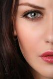 Nahaufnahme des weiblichen Gesichtes Stockbild