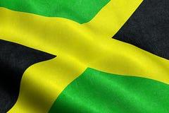 Nahaufnahme des Wellenartig bewegens von Jamaika-Flagge, Querstreifen, nationales Sonderzeichen von jamaikanischem Lizenzfreie Stockfotografie