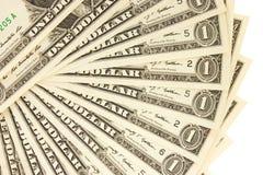 Nahaufnahme ein Dollarscheine auf weißem Hintergrund Geschäftskonzept b Lizenzfreie Stockbilder