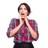 Nahaufnahme einer glücklichen jungen Frau überrascht Lizenzfreies Stockfoto