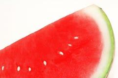 Nahaufnahme einer Scheibe einer roten Wassermelone stockbild