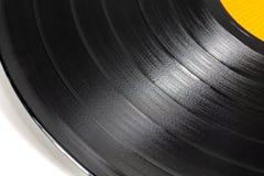 Nahaufnahme einer schwarzen Retro- Rekordoberfläche stockfotos