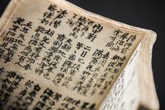 Nahaufnahme eines alten Kalligraphie-Buches lizenzfreie stockfotografie
