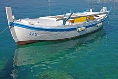 Nahaufnahme eines alten weißen Bootes Stockfoto