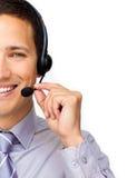Nahaufnahme eines Geschäftsmannes unter Verwendung des Kopfhörers Lizenzfreie Stockbilder