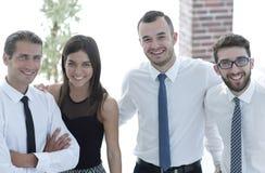 Nahaufnahme eines glücklichen Geschäftsteams der Leute Stockbilder