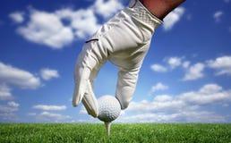 Nahaufnahme eines Golfballs Stockbilder