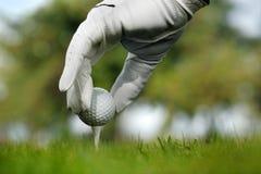 Nahaufnahme eines Golfballs Stockfotografie