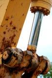 Nahaufnahme eines hydraulischen Kolbens Stockbilder