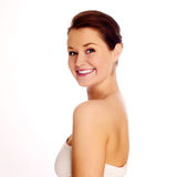 Nahaufnahme eines Lächelns der jungen Frau lizenzfreies stockbild