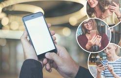 Nahaufnahme eines Smartphone mit einem leeren Bildschirm in den männlichen Händen Männlicher Finger auf dem Knopf des Geräts Stockfoto