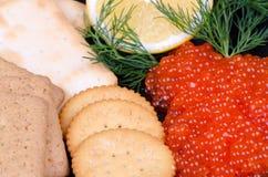 Nahaufnahme für Kaviaraperitif Stockfotos