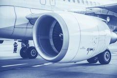 Nahaufnahme-Flugzeuge Jet Engine Blue stockfoto