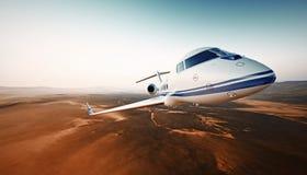 Nahaufnahme-Foto-modernes weißes generisches Design-Luxusflugzeug Private Jet Cruising High Altitude, fliegend über Wüste leer Lizenzfreie Stockfotografie