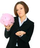 Nahaufnahme-Geld an Hand des armen weiblichen Kaukasiers Stockfotografie