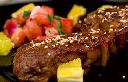 Nahaufnahme geschossen vom ribeye Steak Lizenzfreie Stockfotos